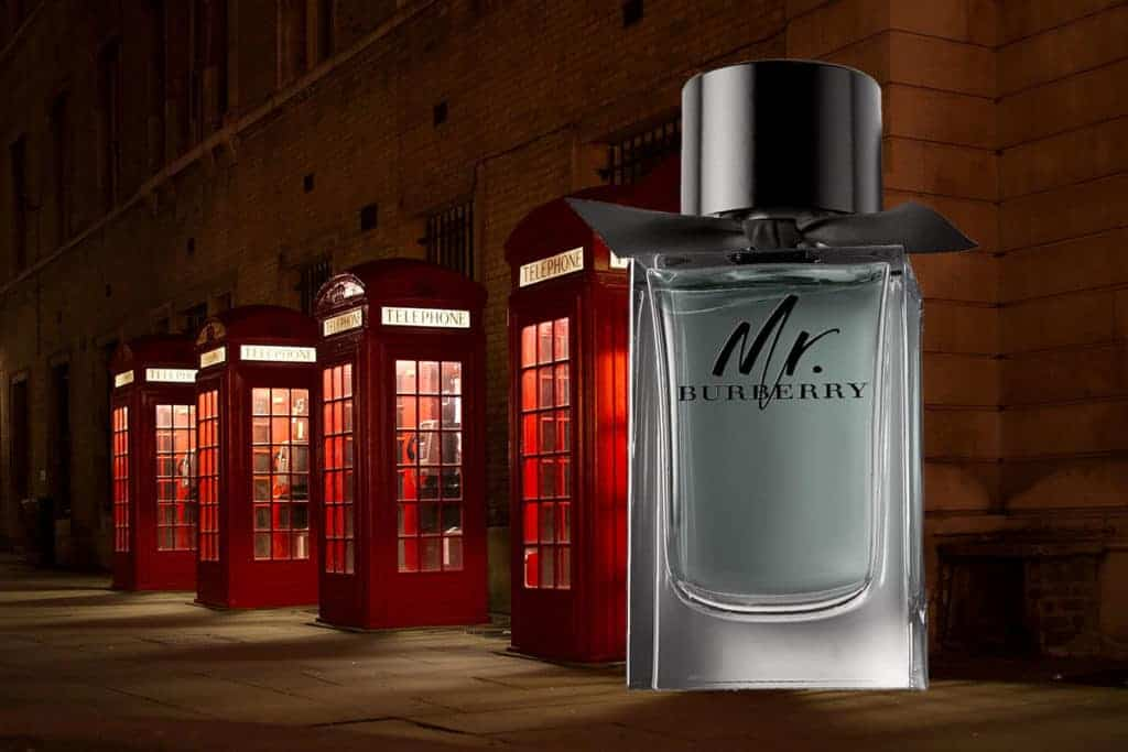 Bottle of Mr Burberry Cologne with London backdrop